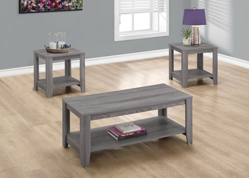 Candace & Basil Table Set - 3PC Set / Grey