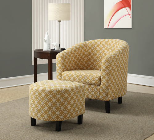 Candace & Basil Accent Chair - 2PC Set/  Burnt Yellow
