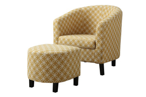 "Accent Chair - 2PC Set/  Burnt Yellow "" Circular """