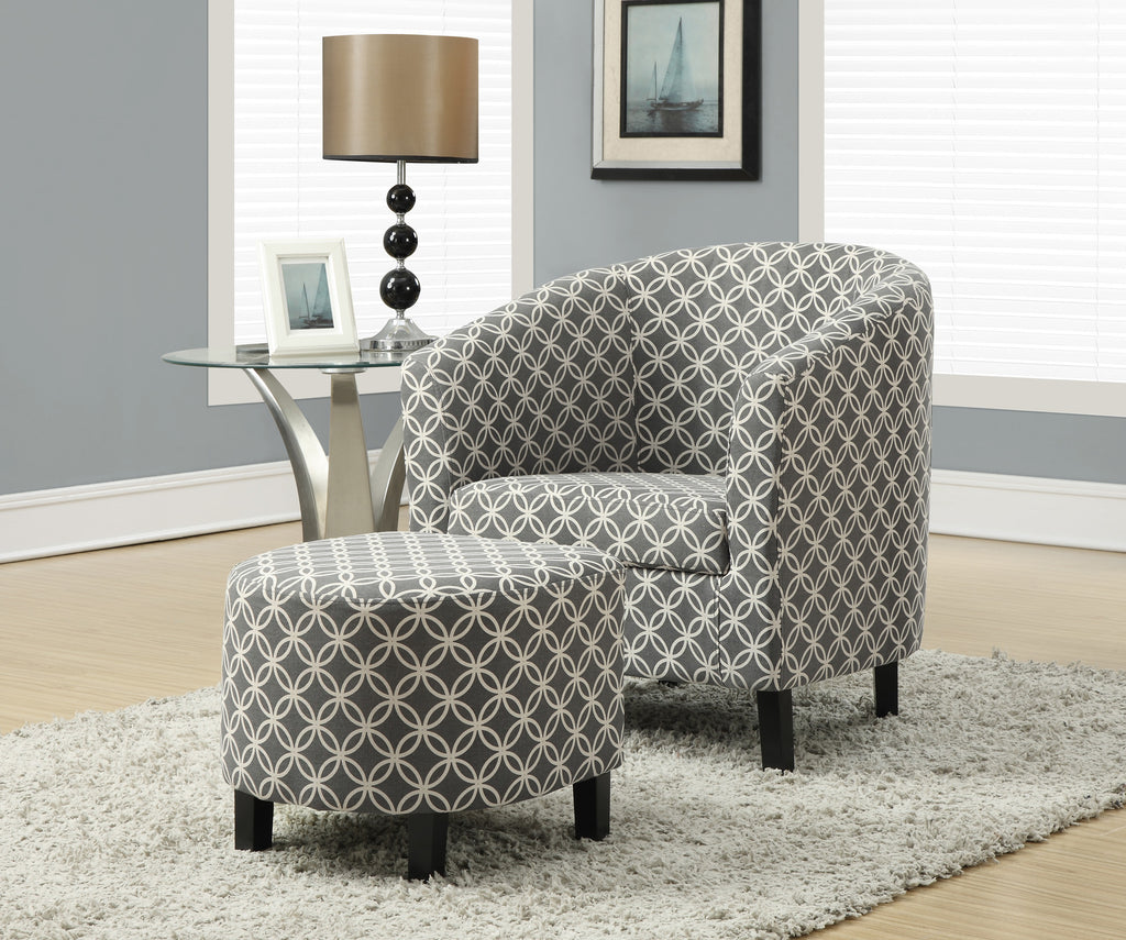"Candace & Basil Accent Chair - 2PC Set / Grey "" Circular "" Fabric"