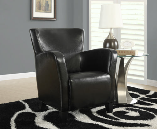Candace & Basil Accent Chair - Black Leather-Look Fabric