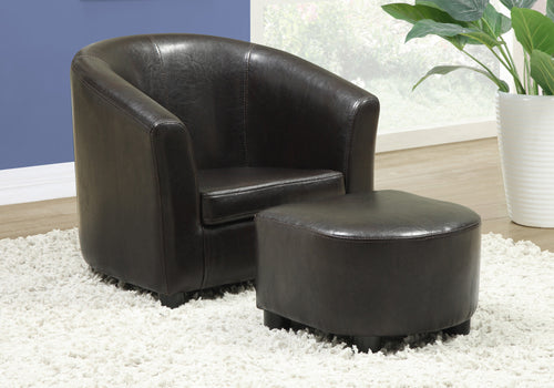 Candace & Basil Juvenile Chair - 2 PC Set / Dark Brown Leather-Look