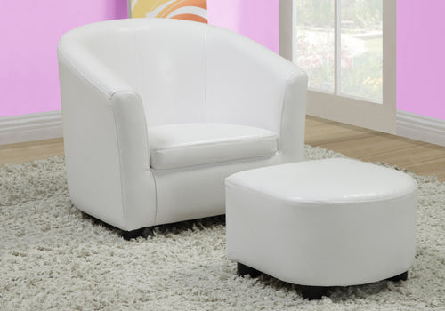 Candace & Basil Juvenile Chair - 2 PC Set / White Leather-Look Fabric