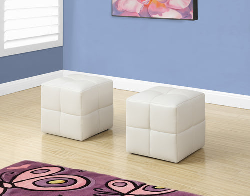 Candace & Basil Ottoman - 2PC Set / Juvenile / White Leather-Look