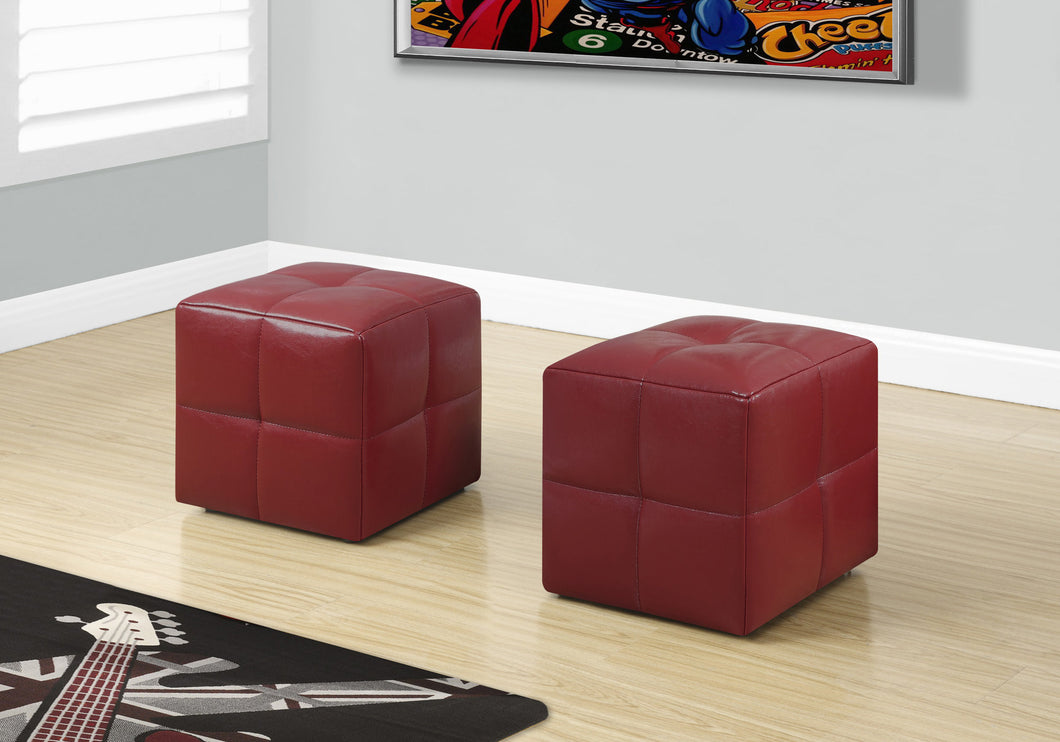 Candace & Basil Ottoman - 2pc Set / Juvenile / Red Leather-Look