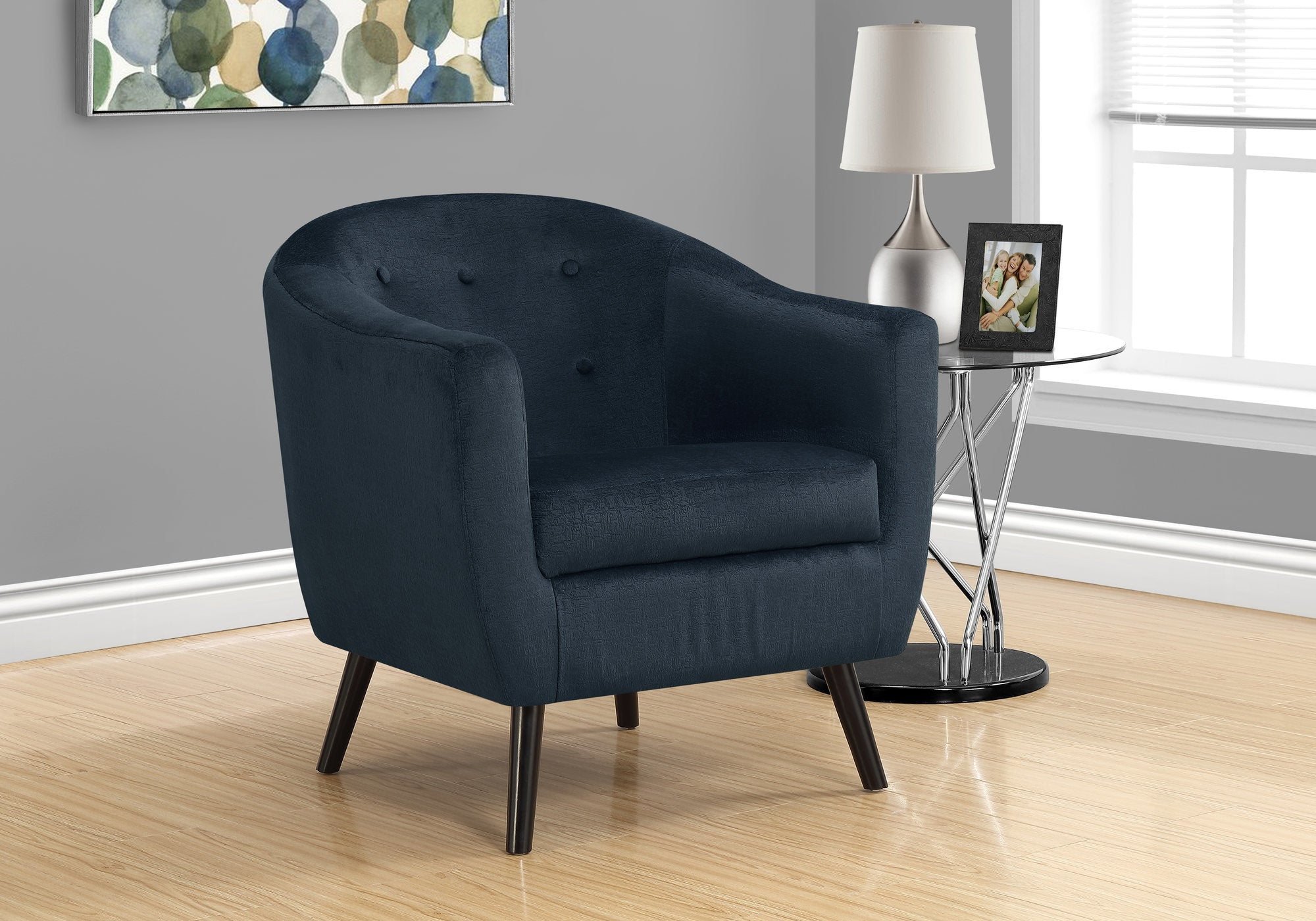 Accent Chair - Dark Blue Mosaic Velvet