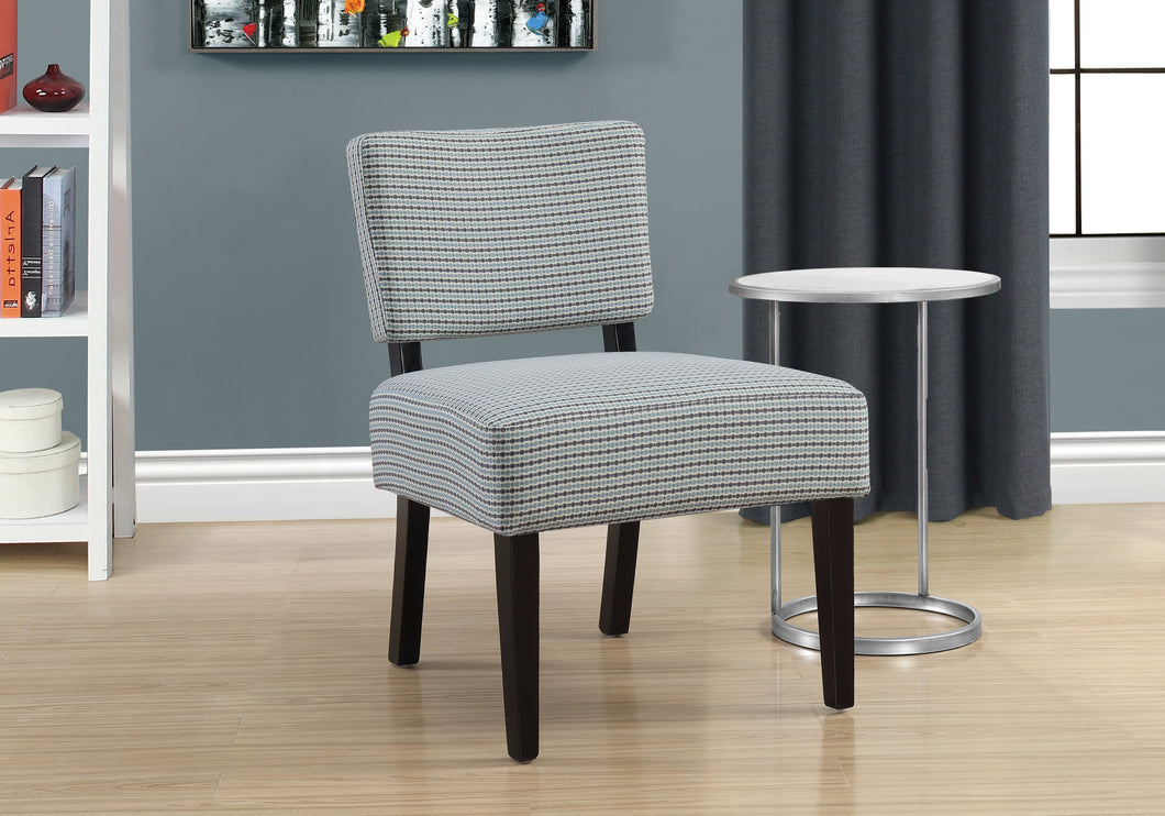 Accent Chair - Light Blue / Grey Abstract Dot Fabric