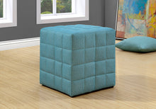 Load image into Gallery viewer, Ottoman - Light Blue Linen-Look Fabric
