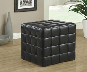 Candace & Basil Ottoman - Black Leather-Look Fabric
