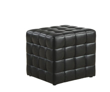 Load image into Gallery viewer, Ottoman - Black Leather-Look Fabric