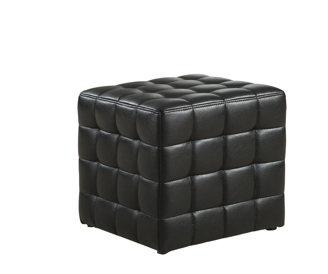 Ottoman - Black Leather-Look Fabric