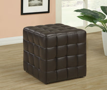 Load image into Gallery viewer, Candace & Basil Ottoman - Dark Brown Leather-Look Fabric