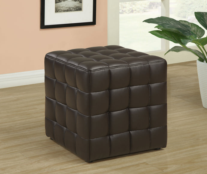 Candace & Basil Ottoman - Dark Brown Leather-Look Fabric