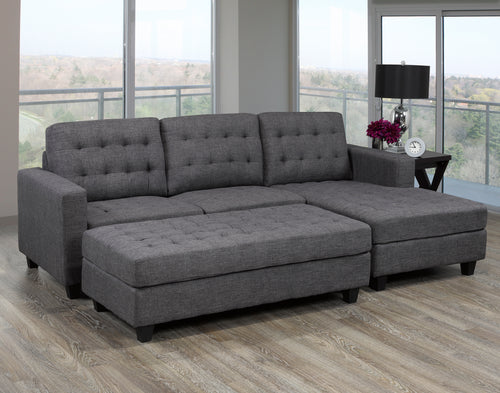 Antonio Sectional (RHF) + Ottoman - Dark Grey