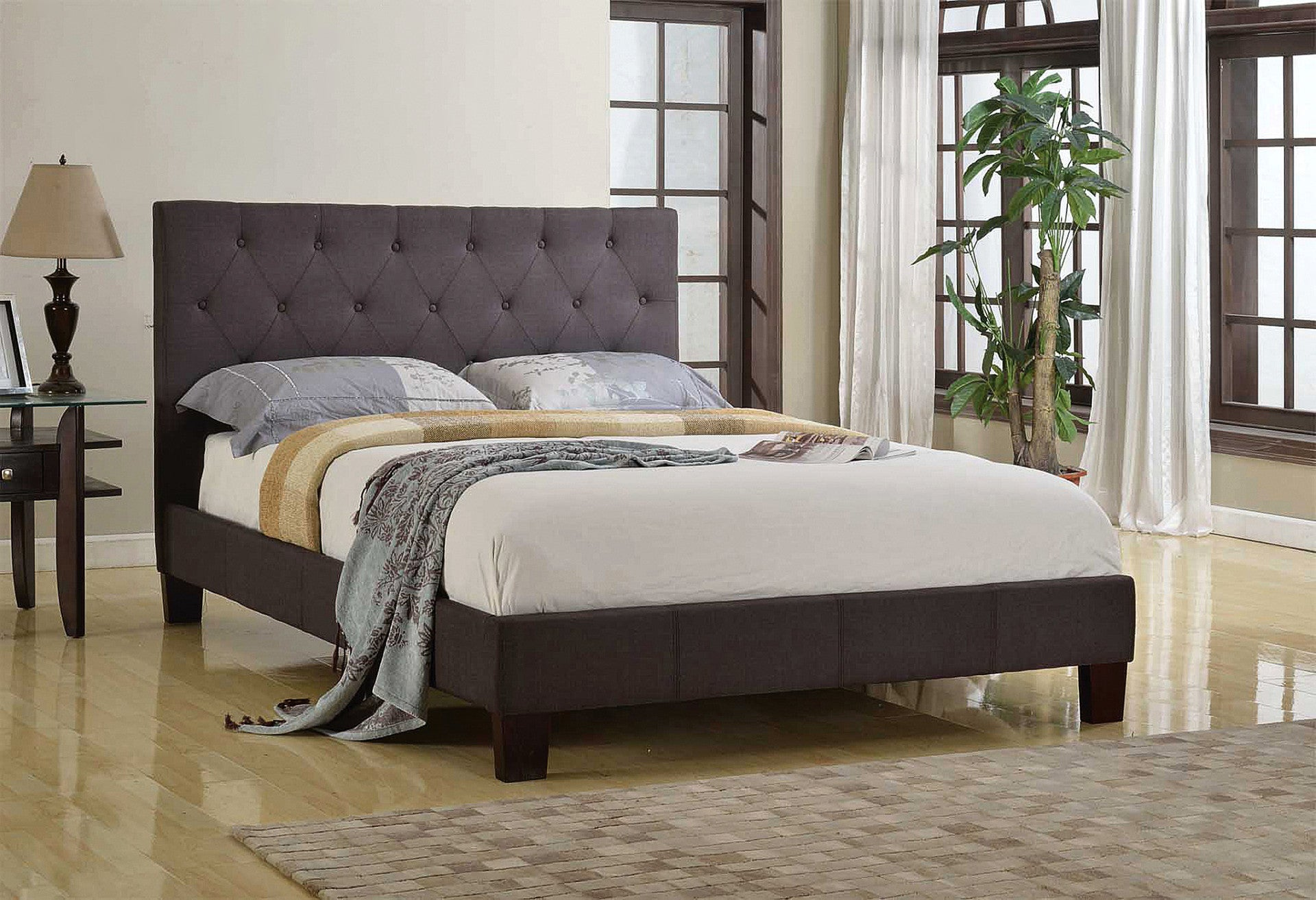 Robinson Platform Double/Full Bed - Grey Linen | Candace and Basil Furniture