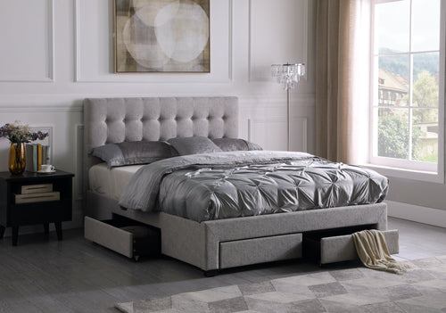 Revo Platform Queen Storage Bed - Grey Linen