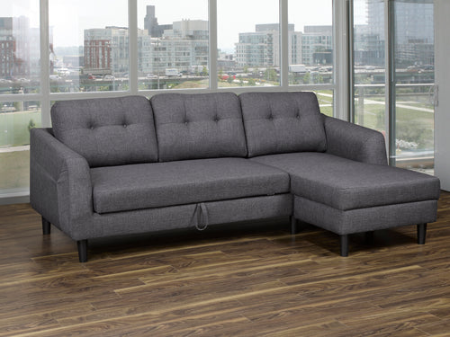 Katie Pull-Out (RHF) Sectional - Grey Linen