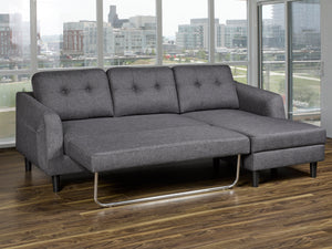 Katie RHF Sleeper Sectional - Grey Linen