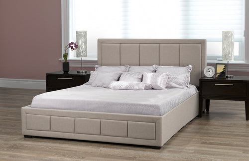 Pacific King Storage Bed - Beige Linen | Candace and Basil Furniture