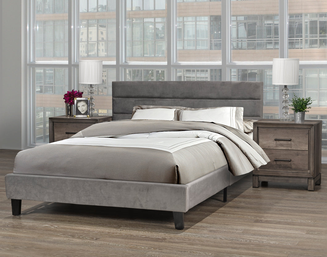 Cunningham Platform Double/Full Bed - Grey Velvet | Candace and Basil Furniture