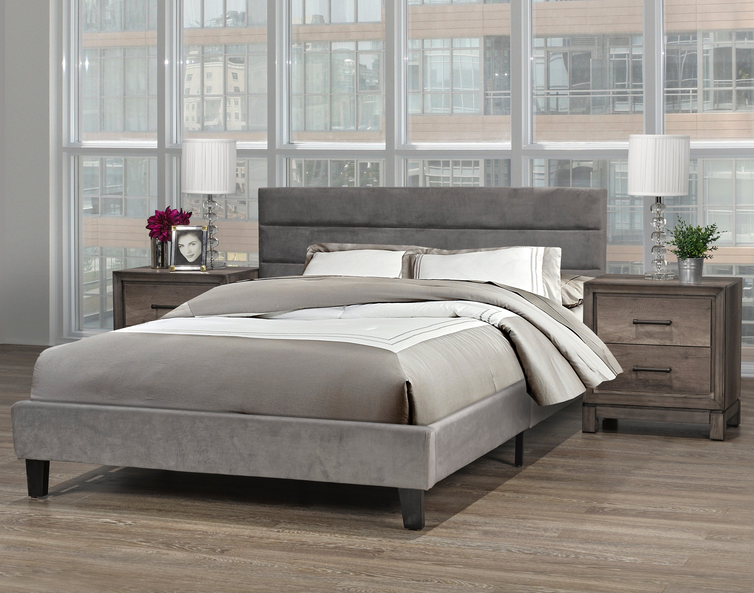 Cunningham Platform Queen Bed - Grey Velvet | Candace and Basil Furniture
