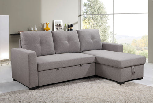 Aldo LHF/RHF Configurable Sleeper Sectional w/ Storage - Light Grey Linen