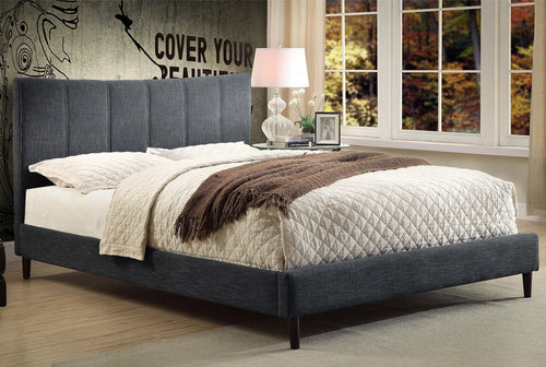 Candace & Basil Furniture |  Alberto Platform Double/Full Bed Frame - Grey Linen