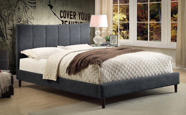 Candace & Basil Furniture |  Alberto Platform Queen Bed Frame - Grey Linen