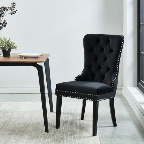 Rizzo Side Chair - Black Velvet/Wood (Set of 2)
