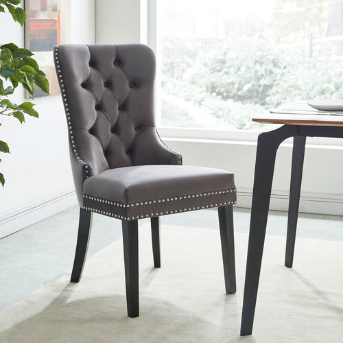 Rizzo Side Chair - Grey Velvet/Wood (Set of 2)