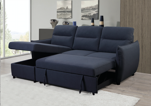 Baker LHF/RHF Configurable Sleeper Sectional w/ Storage - Dark Grey Linen