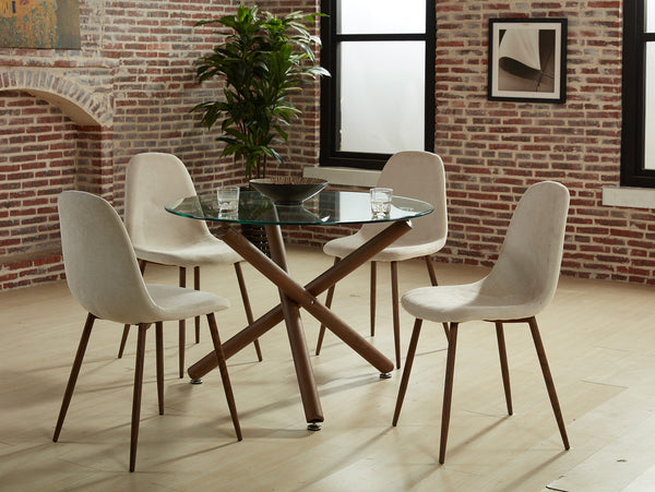 5PC Dining Set - Walnut (Beige Chairs)