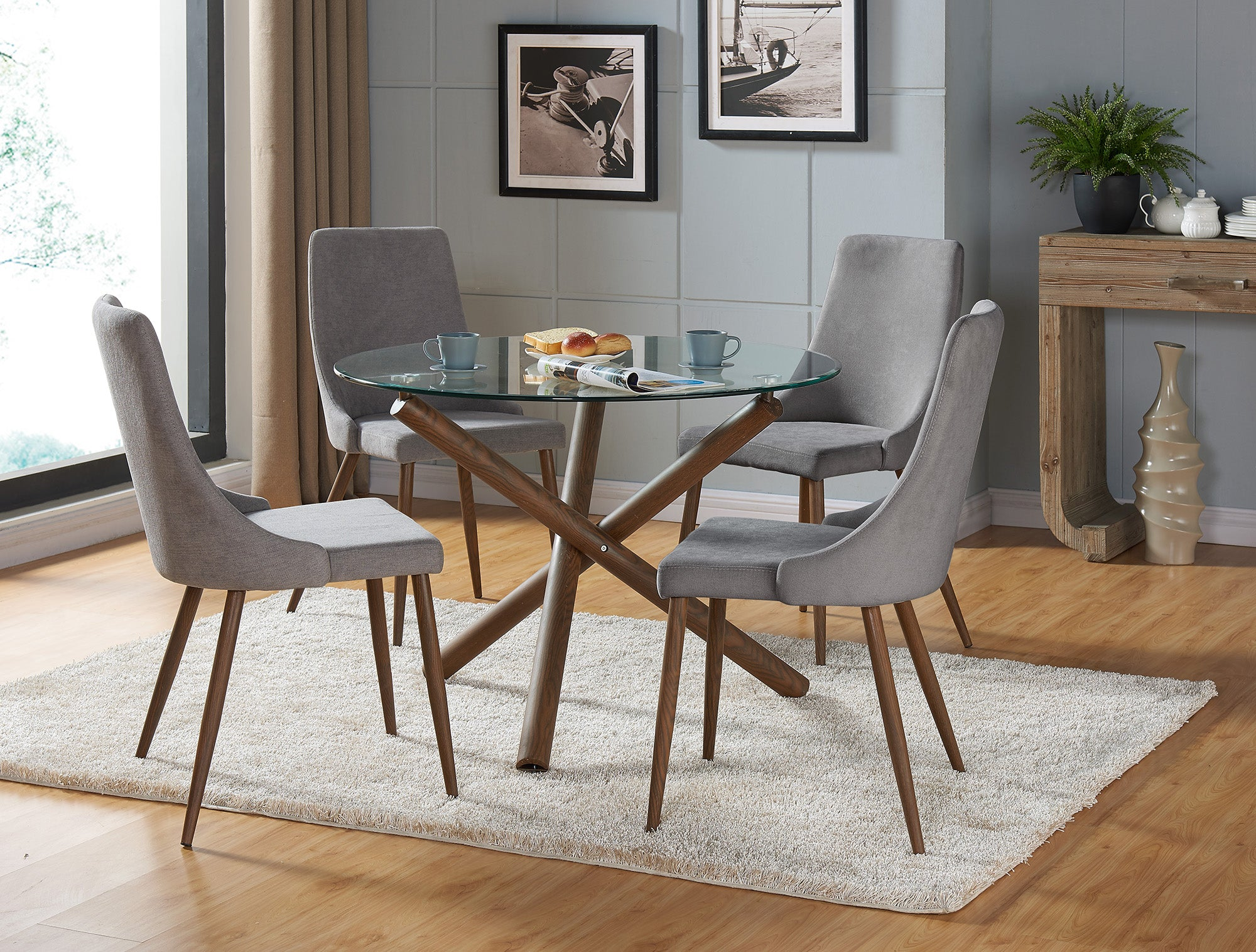Cora 5PC Dining Set - Walnut (Grey Chairs)
