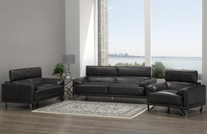 Samson Sofa Series - Charcoal Leatherette