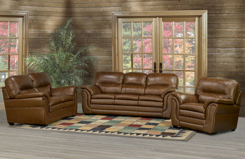 Carlyle Sofa Series - Brown Genuine Leather