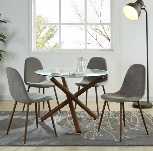 Lyna 5PC Dining Set - Walnut (Grey Chairs)