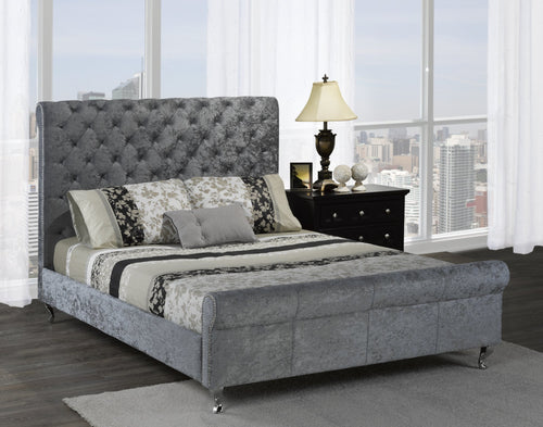 Manila Platform Queen Bed - Silver Velvet | Candace and Basil Furniture