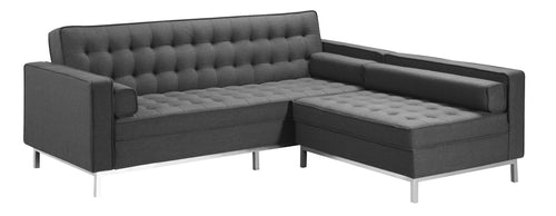 Vincent LHF/RHF Configurable Sleeper Sectional - Dark Grey Linen