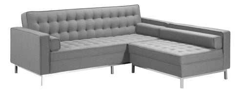Convertible LHF or RHF Sectional (Sofa Bed) - Light Grey Linen