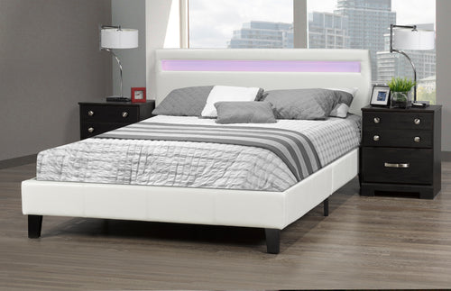 Oliver Double Platform Bed w/ LED - White | Candace and Basil Furniture
