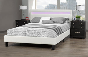 Oliver Queen Platform Bed w/ LED - White | Candace and Basil Furniture