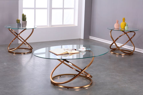 Clarissa 3PC Coffee Table Set - Gold