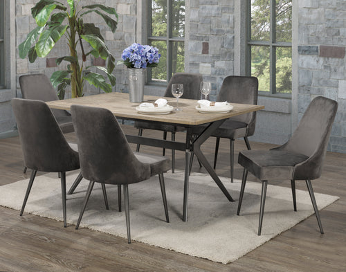Venetian 7PC Dining Set - Grey Velvet | Candace and Basil Furniture