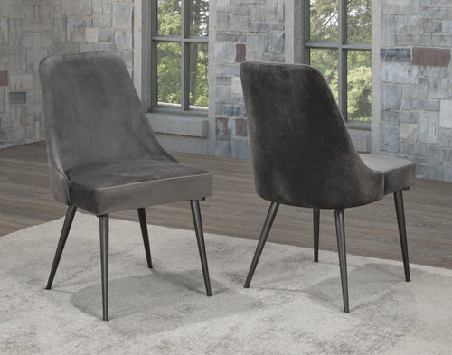 Venetian Dining Chair (Set of 2)- Velvet Grey | Candace and Basil Furniture