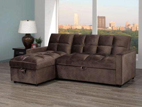 Jayden Sleeper Sectional - Brown Velvet | Candace and Basil Furniture