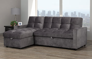 Jayden Sleeper Sectional - Grey Velvet | Candace and Basil Furniture