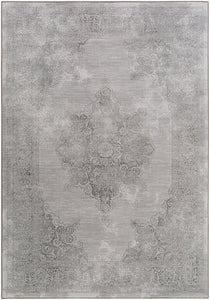 "Medallion and Damask 7' 10"" x 10' Area Rug, Grey"