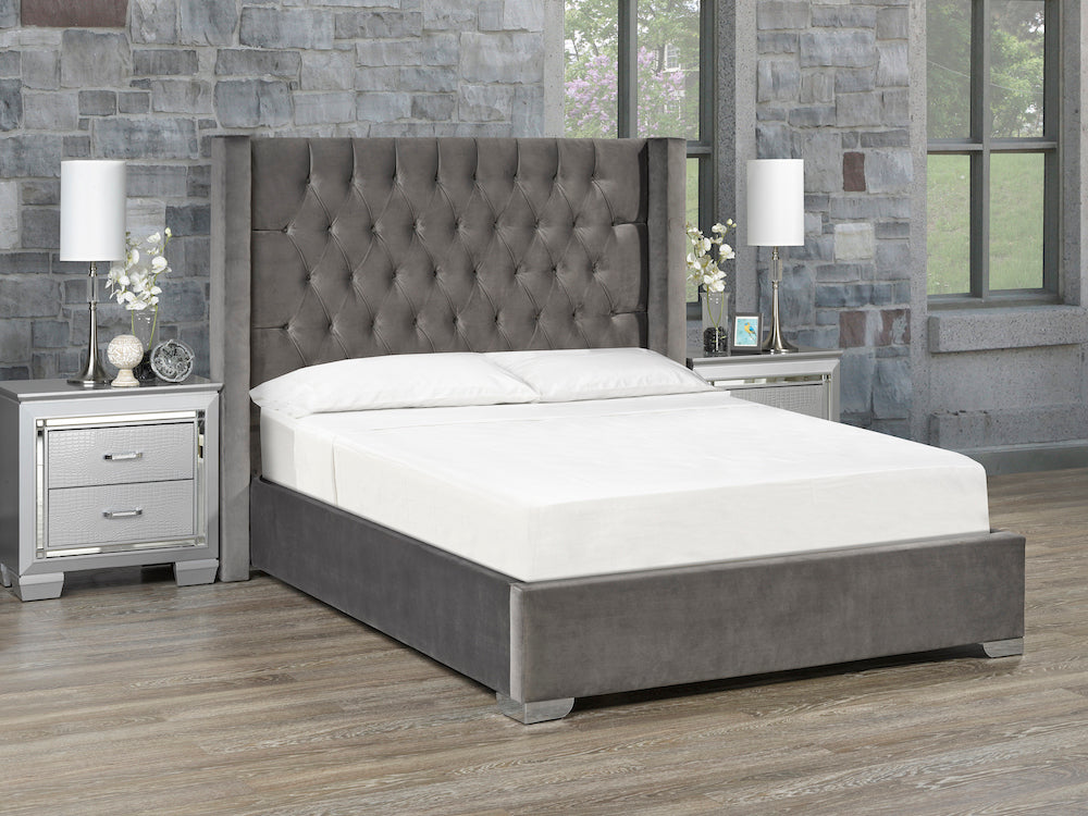 Kona Platform Bed - Grey Velvet 🇨🇦