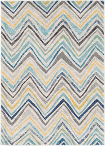 "Geometric 5' 3"" x 7' 3"" Area Rug, Blue"