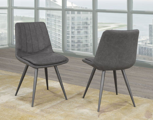 Caden Dining Chairs (Set of 2) - Grey Leatherette